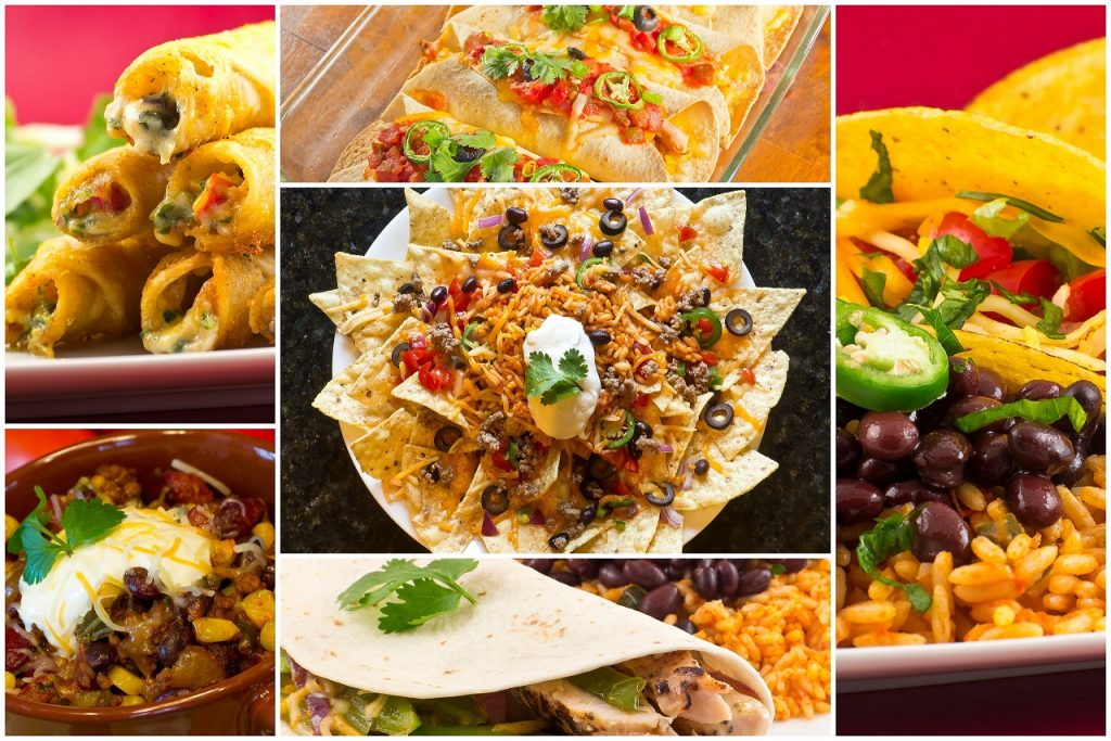 Collage of various Mexican dishes including enchiladas taquidos nachos and fajitas