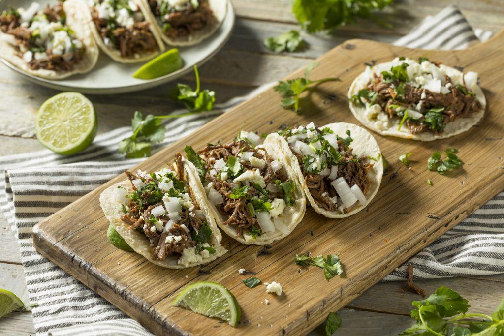 pork tacos on a chopping board