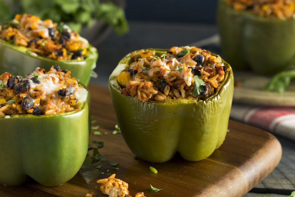stuffed bell pepper with meat and rice